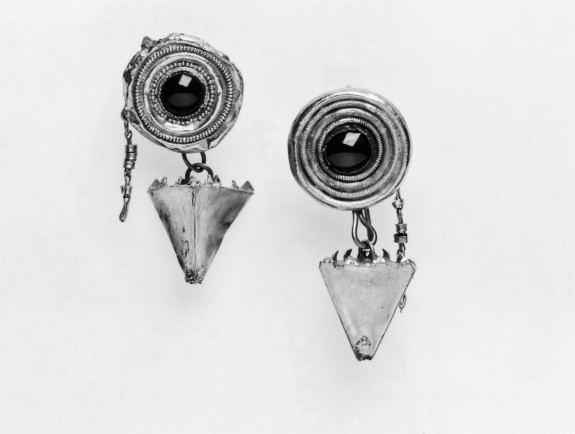 Pair of Disk-and-Pyramid Pendant Earrings