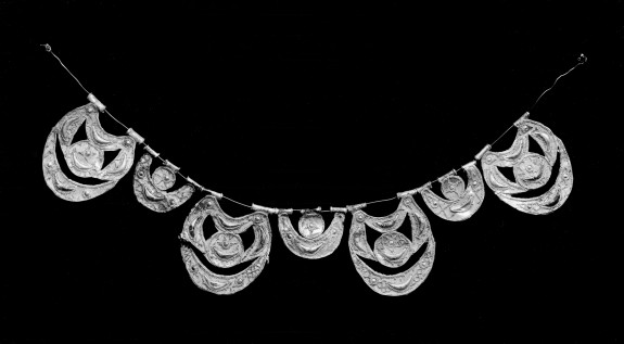 Seven Sections of a Necklace with Raised Crescents and Dots