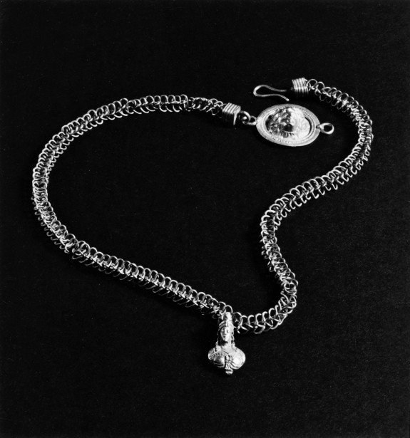 Necklace with Pendant of a Female Bust and Head of Medusa or Helios on Clasp