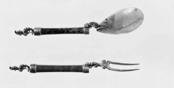 Spoon and Fork with Heads of Minerva