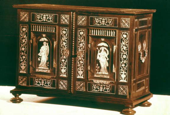 Table Cabinet with Allegorical Figures Holding Musical Instruments