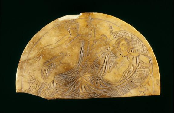 Plaque with Dionysos, Ariadne, and Eros