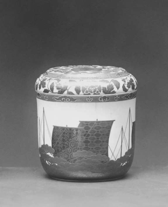 Cylindrical Box Depicting Ship Sails