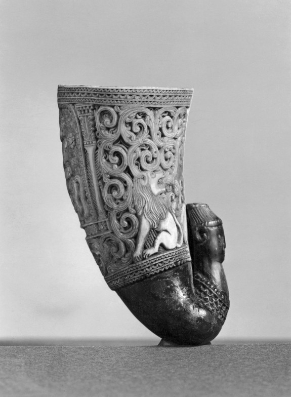 Carved Ram's Horn Cup with Lions and Mounted Rider