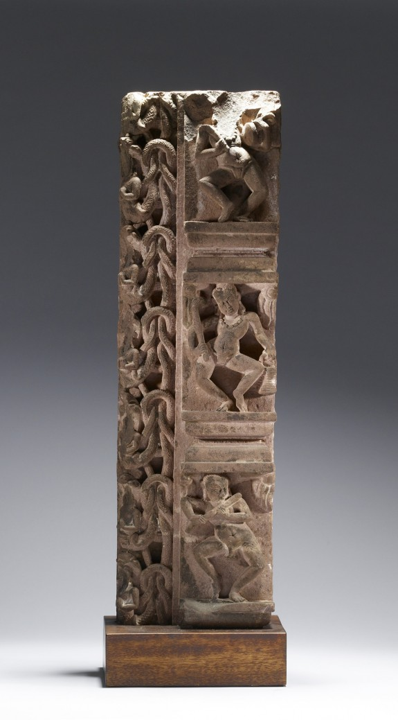 Doorjamb with Dancing Figures and Serpents