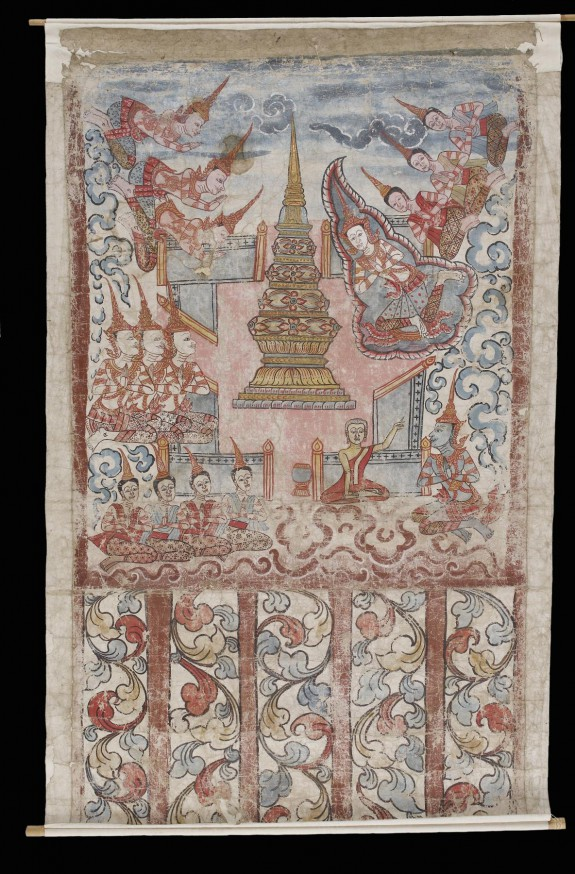 Phra Malai at the Culamani stupa in Indra's heaven