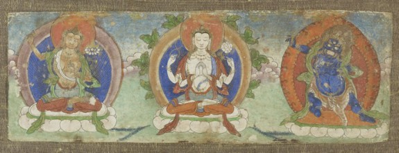 Manuscript Leaf with Three Buddhist Dieties
