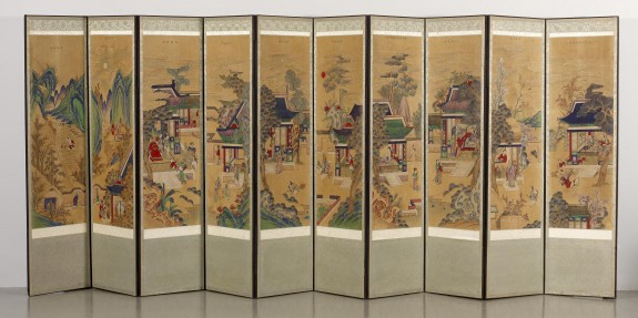 Ten-panel Folding Screen with Scenes of Filial Piety