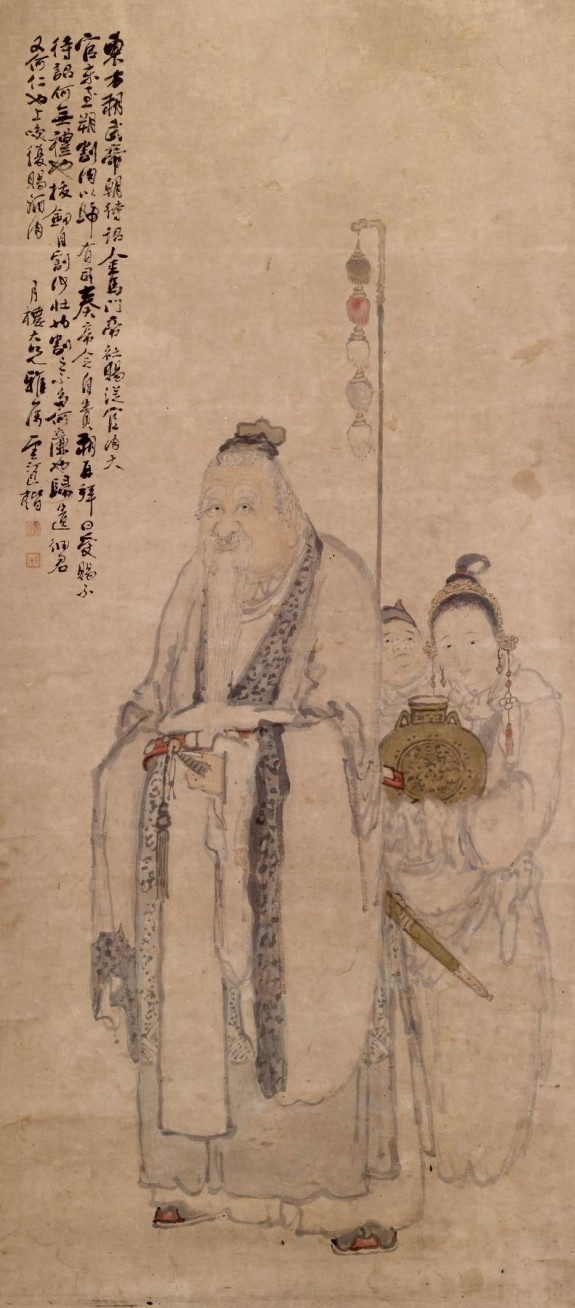 Portrait of Dong Fang Shuo with Two Attendants