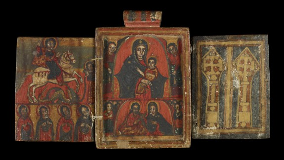 Double-sided Icon with Scenes from the Life of Christ, the Virgin Mary, and the Saints