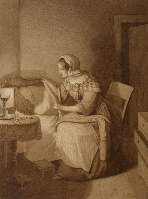 Woman Beside Bed of Sick Chid