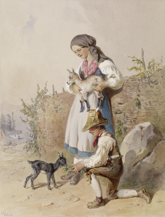 Peasant Girl and Boy with Goats