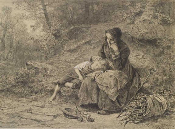 Old Woman and Boy Resting