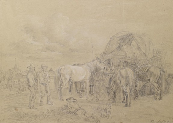 Peasant and Horses with Wagon