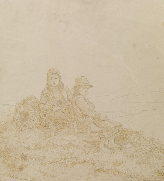 Two Girls Resting on Mountain