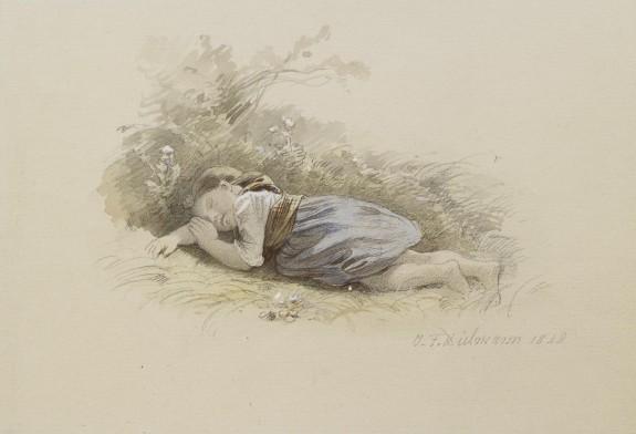 Girl Asleep in the Woods