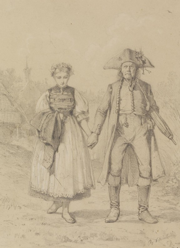 Old Man and Girl in Peasant Costume