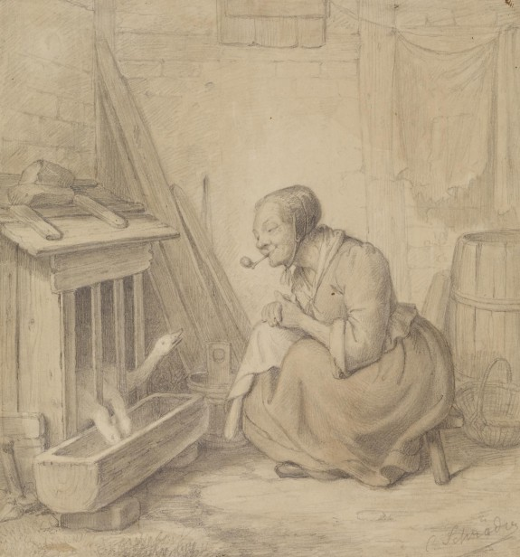 Old Woman with Pipe and Geese