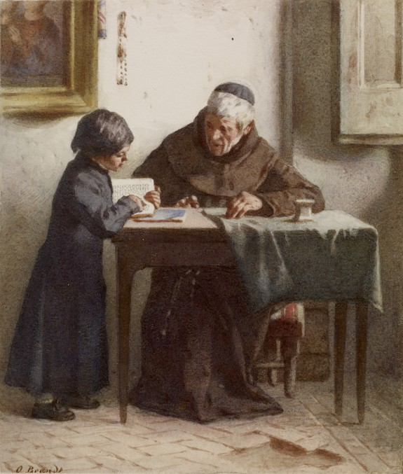 Monk Instructing a Boy Dressed in a Cassock