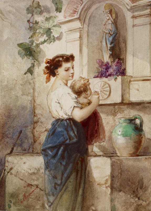Young Woman with Baby Beside Wall