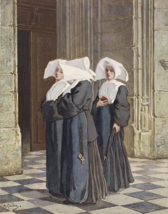 Three Nuns in the Portal of a Church