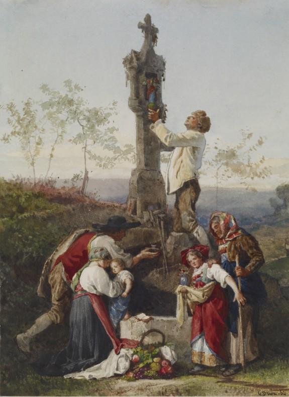 Peasants Decorating Wayside Shrine