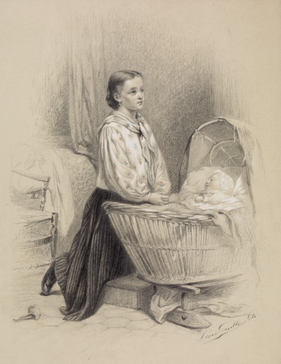 Young Woman Praying Beside Baby's Cradle