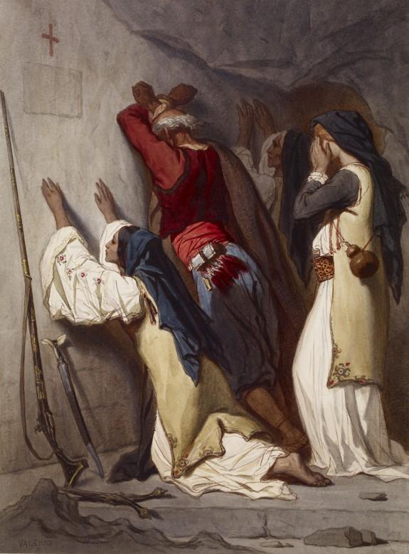 Balkan Peasants Praying in Cave Chapel