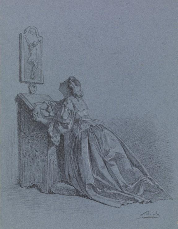 Interior: Woman Kneeling at Prie-dieu