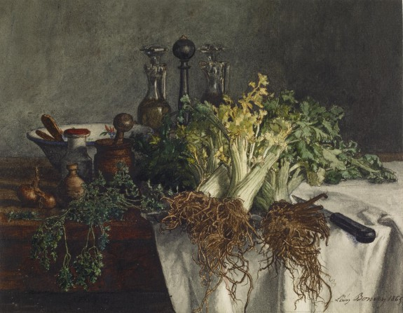 Still Life on Kitchen Table with Celery, Parsley, Bowl, and Cruets