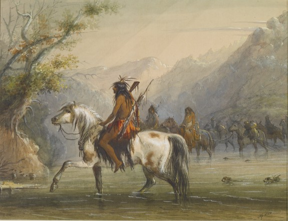 Shoshonee [sic] Indians - Fording a River