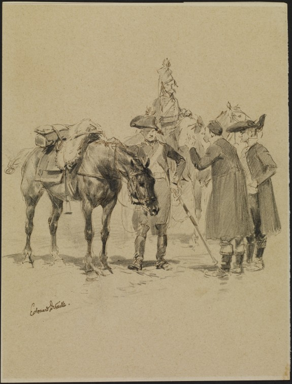 Two Soldiers with Horses