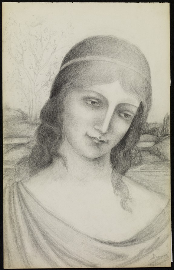 Bust of a Maiden in a Landscape