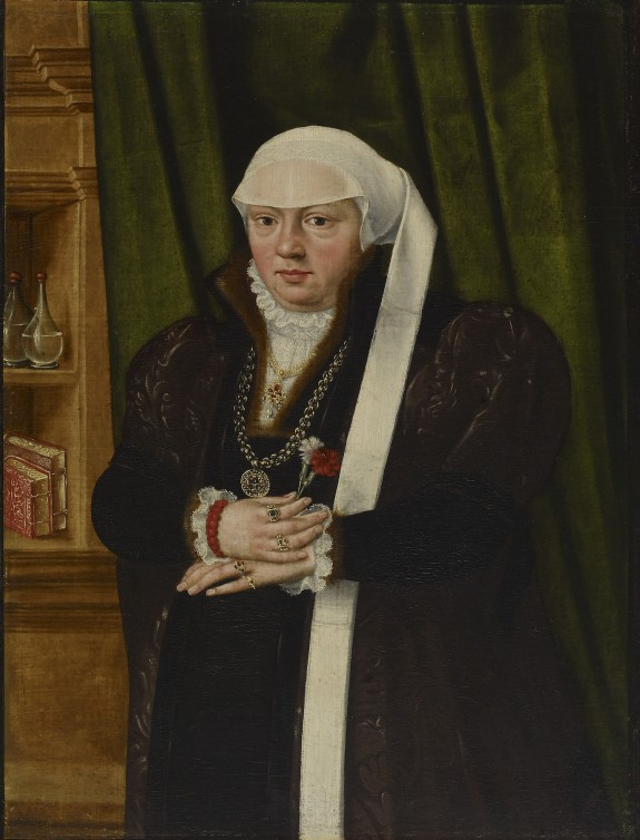 Portrait of a Woman with Pinks