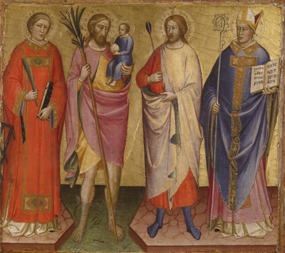 Saints Lawrence, Christopher, Sebastian, and a Bishop Saint