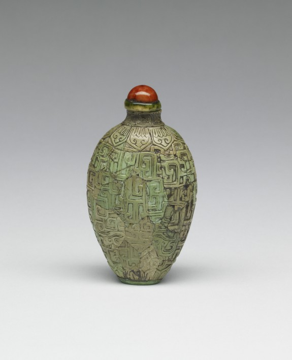 Fragments of a Vessel with Archaic Designs, Reconstituted as a Snuff Bottle