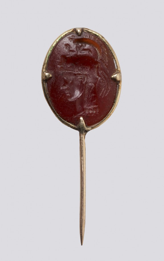 Intaglio with the Head of Athena Set in a Pin