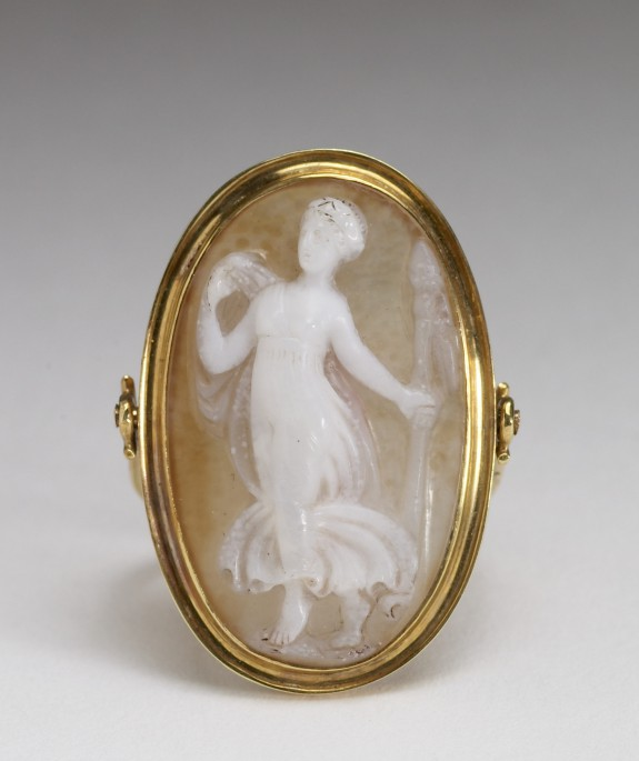 Ring with Onyx Cameo of a Bacchante (Female Follower of Bacchus, God of Wine)