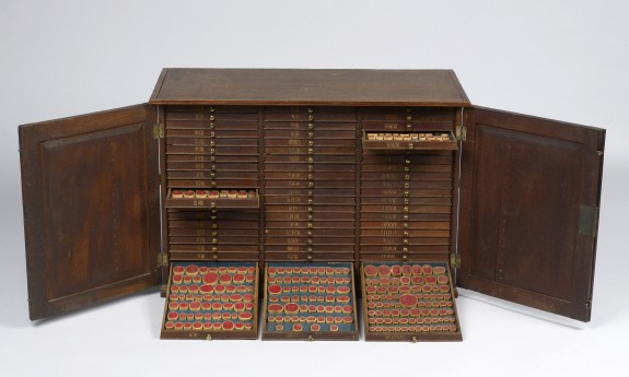 Oak Cabinet Containing Sixty Drawers of Gem Impressions in Red Sulphur Wax