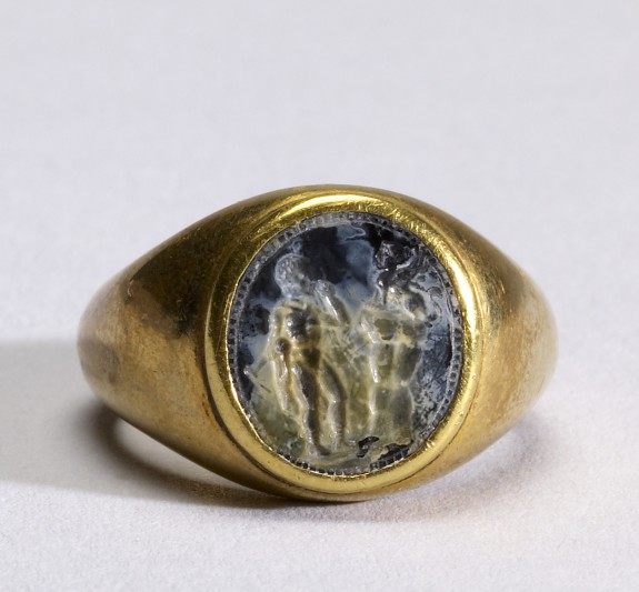 Intaglio with Oedipus and the Sphinx Set in a Ring