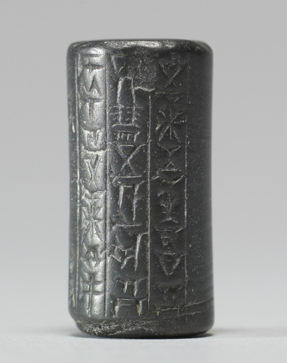 Cylinder Seal with Two Figures and an Inscription