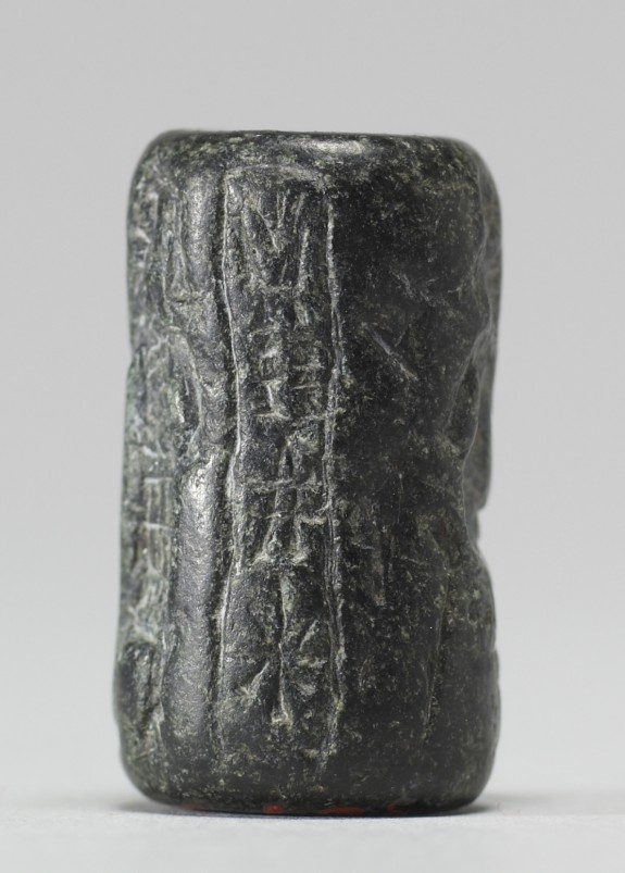 Cylinder Seal with Seated Figure and Inscription