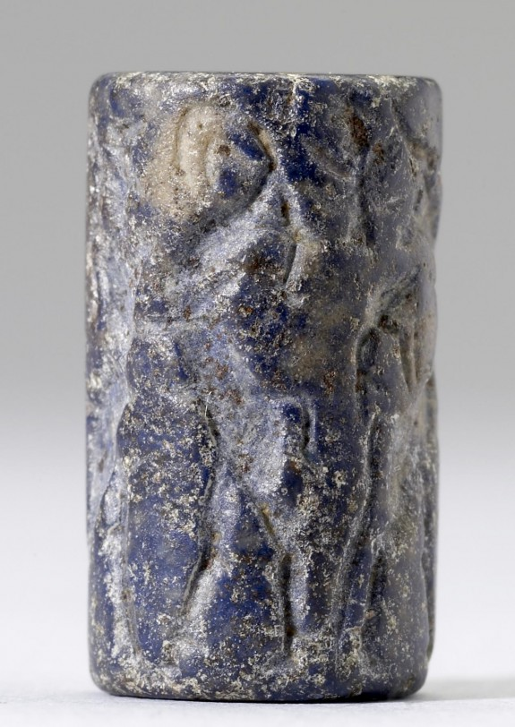 Cylinder Seal with Figures in Combat with Horned Animals