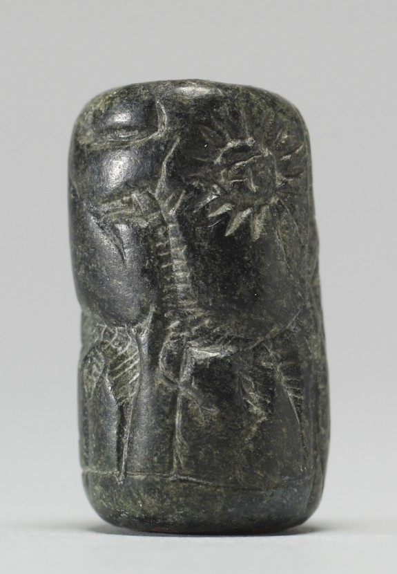 Cylinder Seal with Man Standing with Two Animals