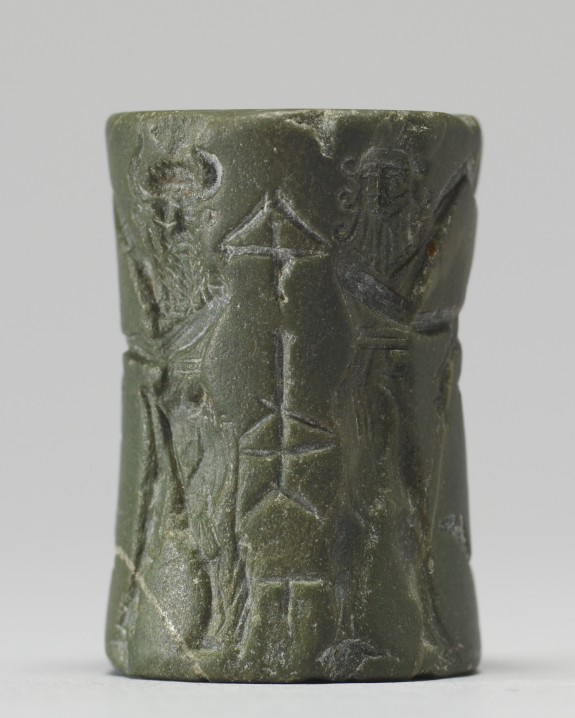 Cylinder Seal with King or God and Vanquished Lion