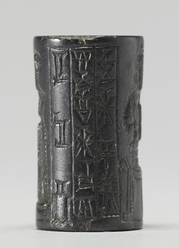 Cylinder Seal with Seated Crowned Goddess and Two Men