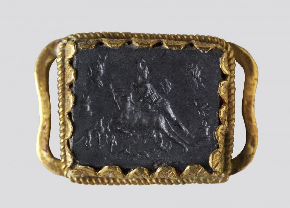 Intaglio with Mithras Slaying the Bull and the God Abraxas Set in a Mount
