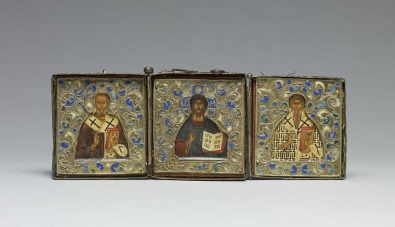 Triptych Icon of Christ, Saint Nicholas, and Saint Blaise