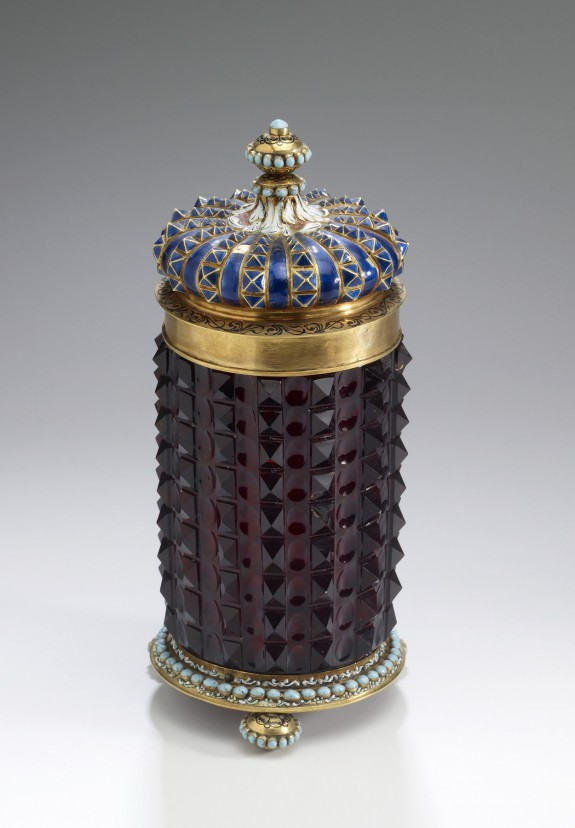 Covered Beaker with Raised Square Pyramids and Incised Oval Design