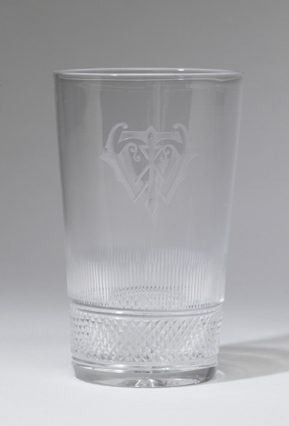 Glass Tumbler with the Monogram of William T. Walters